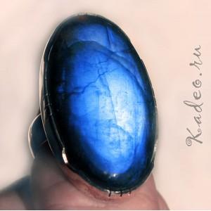 Крупный перстень! 36 мм!  ЛАБРАДОР - Черный ЛУННИК в серебре 925. Кольцо, р. 16
