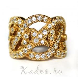 Ажурное кольцо с натуральными белыми ТОПАЗАМИ в желтом золоте и серебре