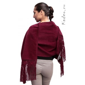 100% Лама АЛЬПАКА - ПАЛАНТИН накидка шарф из Перу. цвет - бордо