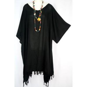 летняя ТУНИКА - ПОНЧО - ПЛАТЬЕ, цвет черный, 2X-5X , натуральный 100% шелк Rayon Индонезия