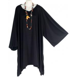 ТУНИКА - ПОНЧО - ПЛАТЬЕ из трикотажного эластичного Rayon JERSEY черный. Размер 3Х-6Х  Индонезия
