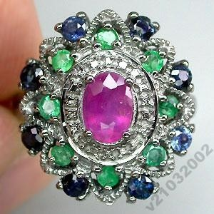 Кольцо с Рубином, Изумрудами  и Сапфиром в серебре 925, родирование