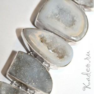 Уникальный браслет! Друзы природного АГАТА, кристаллы кварца в серебре 925
