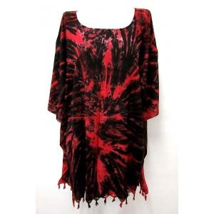 летняя ТУНИКА - ПОНЧО - ПЛАТЬЕ ЭТНИКА свободный большой размер 100% шёлк Rayon - batik красное