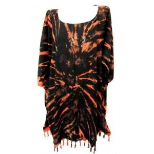 летняя ТУНИКА ПОНЧО ПЛАТЬЕ - шёлк Rayon, batik, свободный размер. Цвет оранжевый