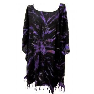 летняя ТУНИКА ПОНЧО ПЛАТЬЕ - шёлк Rayon, batik, свободный размер. Цвет фиолетовый