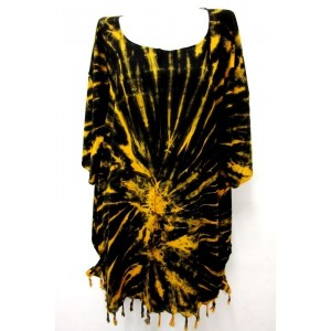 летняя ТУНИКА ПОНЧО ПЛАТЬЕ - шёлк Rayon, batik, свободный размер. Цвет желтый