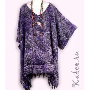 летняя ТУНИКА  ПОНЧО ПЛАТЬЕ ЭТНИКА БАТИК шёлк Rayon, цвет фиолетовый. Индонезия