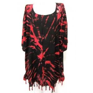 Яркая летняя ТУНИКА - ПОНЧО - ПЛАТЬЕ ЭТНИКА свободный большой размер 100% шёлк Rayon - batik красно-кораловый