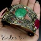 Уникальный дизайнерский БРАСЛЕТ в средневековом стиле из черненого серебра и натуральными камнями: Изумруд, Рубин