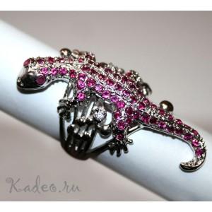 Редкое дизайнерское кольцо ЯЩЕРИЦА * ИГУАНА. Рубины в платине и серебре. Перстень