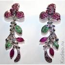 Дизайнерские шикарные серьги! 72 мм! Цветы из бирманских РУБИНОВ, изумрудов, сапфиров в платине и серебре, купить подарок