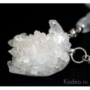 Колье *Застывший лёд* - ГОРНЫЙ ХРУСТАЛЬ, ДРУЗА природных кристаллов, бусы