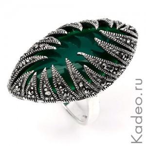 Серебряное кольцо: природные МАРКАЗИТЫ и ОНИКС зеленый, перстень