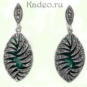 Серебряные серьги с МАРКАЗИТАМИ и зеленым ОНИКСОМ *Клеопатра*