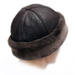 Зимняя шапка. Натуральная кожа, мутон. Шапка унисекс