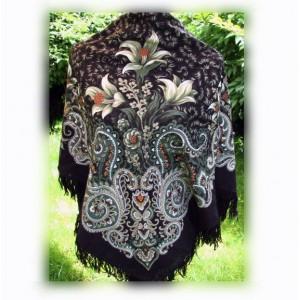 Павловопосадский платок шерстяной «Морозко», русский стиль