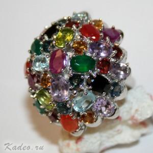 Кольцо с рубином, сапфиром, изумрудом, топазом, аметистом, гранатом, цитрином