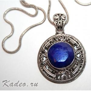 Средневековый стиль. САПФИР природный синий в серебре. Подвеска кулон колье с цепочкой