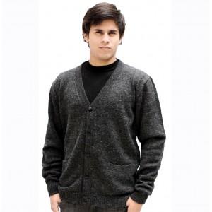 100% Лама АЛЬПАКА - мужской КАРДИГАН, кофта из Перу. цвет - графит