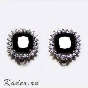 Серьги с редкой чёрной ШПИНЕЛЬЮ / ЛАЛ в бриллиантовой огранке. Платина, родирование, серебро