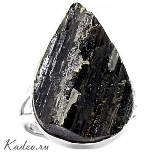 Черный ТУРМАЛИН - ШЕРЛ в серебре 925. Амулет магов, исправляет ауру. Кольцо, р. 19,5