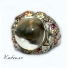 Зеленый АМЕТИСТ - ПРАЗИОЛИТ в серебре + ЦИТРИН, ГРАНАТ,ХРИЗОЛИТ, родирование. Кольцо, перстень, размер 19