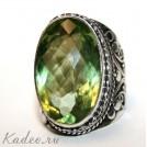 Зеленый АМЕТИСТ - ПРАЗИОЛИТ в серебре. Кольцо, перстень, размер 17,5