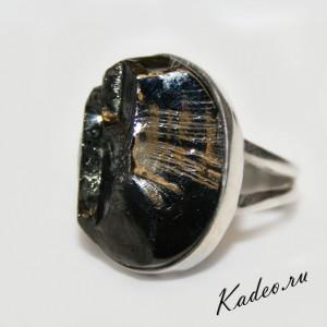 Элитный ШУНГИТ камень здоровья, оберег. Кольцо, серебро, р 18