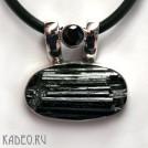 Черный ТУРМАЛИН - ШЕРЛ в серебре 925. Амулет магов, исправляет ауру. Кулон подвеска