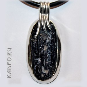 Серебряный кулон амулет с Черным ТУРМАЛИНОМ (ШЕРЛ) камень магов, исправляет ауру