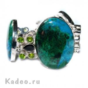 Браслет с натуральной пейзажной ХРИЗОКОЛЛОЙ магическим женским камнем и ХРИЗОЛИТАМИ в серебре
