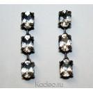 Длинные серьги с белыми ТОПАЗАМИ - камни обереги в серебре, черное родирование