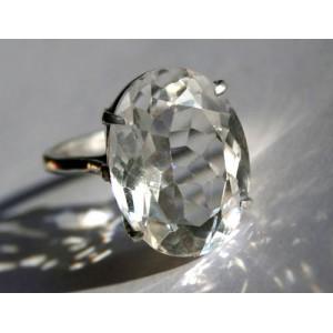 Кольцо с крупным белым ТОПАЗОМ - камнем оберегом в серебре