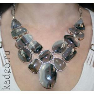 Серебряное КОЛЬЕ с волшебным камнем - МОХОВЫМ (дендритовым) АГАТОМ, ожерелье