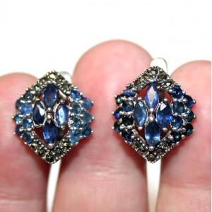 Серьги: синие САПФИРЫ + МАРКАЗИТЫ, серебро 925