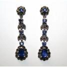 синие САПФИРЫ и МАРКАЗИТЫ серебро 925, длинные серьги пусеты