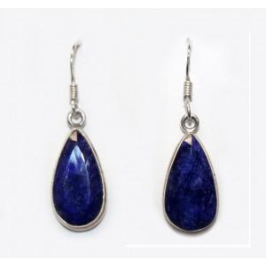 Серьги с камнем талисманом и камнем души - природным синим САПФИРОМ в серебре 925