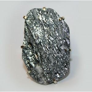 Редкий! Чёрный АВАНТЮРИН необработанный камень ЛЮБВИ и ДОСТАТКА Крупный перстень