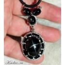 Чёрный Звездчатый ДИОПСИД *След БОГА на Земле*, чёрн шпинель, золото, серебро. Подвеска кулон