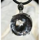 Бриллиантовая огранка, крупный 33мм ГОРНЫЙ ХРУСТАЛЬ природный в серебре кулон подвеска