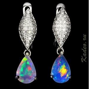 СЕРЬГИ серебряные с благородным многоцветным ЭФИОПСКИМ РАДУЖНЫМ ОПАЛОМ