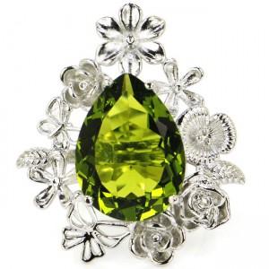 Крупное КОЛЬЦО перстень с ХРИЗОЛИТОВЫМ кварцем. Ювелирный нейзильбер, серебрение
