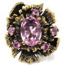 Винтажный стиль, крупный перстень с РОЗОВЫМ КВАРЦЕМ в серебре, черное родированиеребре кольцо
