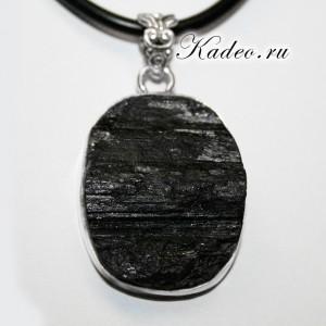 Крупный кулон! Черный ТУРМАЛИН - ШЕРЛ - Амулет магов, исправляет ауру, в серебре 925