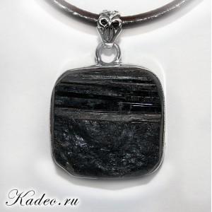 Подвеска унисекс - Черный ТУРМАЛИН - ШЕРЛ. Амулет магов, исправляет ауру, в серебре 925