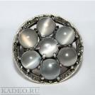 Крупное серебряное кольцо.  ЛУННЫЙ КАМЕНЬ с редким эффектом астеризма КОШАЧИЙ ГЛАЗ