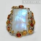 Крупный ЛУННЫЙ КАМЕНЬ - АДУЛЯР природный, оранжевые САПФИРЫ ПАДПАРАДЖА в золоте и серебре кольцо