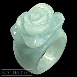 Натуральный АМАЗОНИТ - зеленый лунный камень, 3D резьба по камню - РОЗА, кольцо гоголит