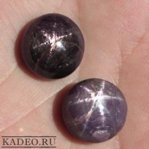 Редкий ЗВЁЗДЧАТЫЙ РУБИН два крупных камня кабошона пара для сережек или кольца